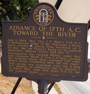 Advance of the 17th A.C. Toward the River Marker image. Click for full size.