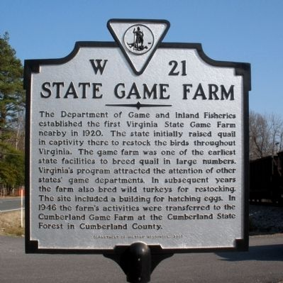 State Game Farm Marker image. Click for full size.