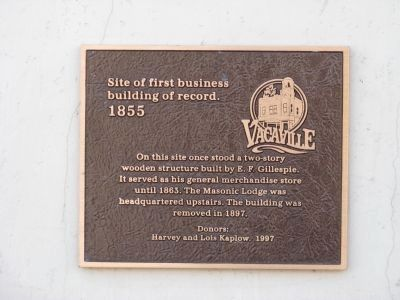 Vacaville-First Business Building Site Marker image. Click for full size.