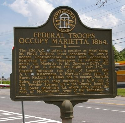 Federal Troops Occupy Marietta, 1864. Marker image. Click for full size.
