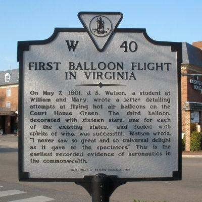 First Balloon Flight in Virginia Marker image. Click for full size.