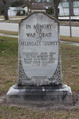 Allendale County War Memorial Marker image. Click for full size.