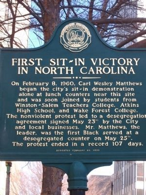 First Sit-In Victory In North Carolina Marker image. Click for full size.