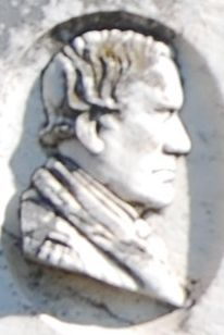 Governor David Johnson<br>Likeness Carved on<br>Tombstone image. Click for full size.