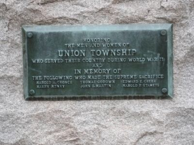 Union Township World War II Memorial Marker image. Click for full size.