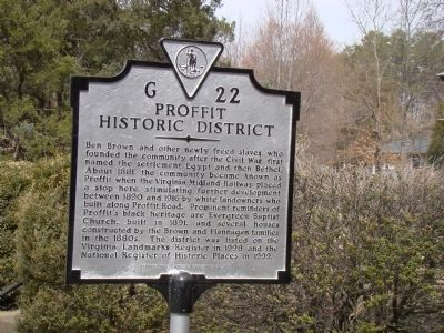 Proffit Historic District Marker image. Click for full size.