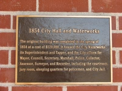1854 City Hall and Waterworks Marker image. Click for full size.