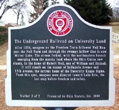 The Underground Railroad on University Land Marker #3 image. Click for full size.