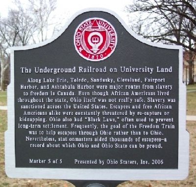 Underground Railroad on University Land Marker #5 image. Click for full size.