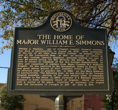 The Home of Major William E. Simmons Marker image. Click for full size.