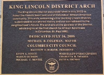 King Lincoln District Arch Marker image. Click for full size.