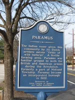 Paramus Historical Marker image. Click for full size.
