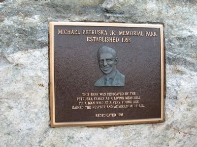 Plaque dedicated to Michael Petruska, Jr. image. Click for full size.
