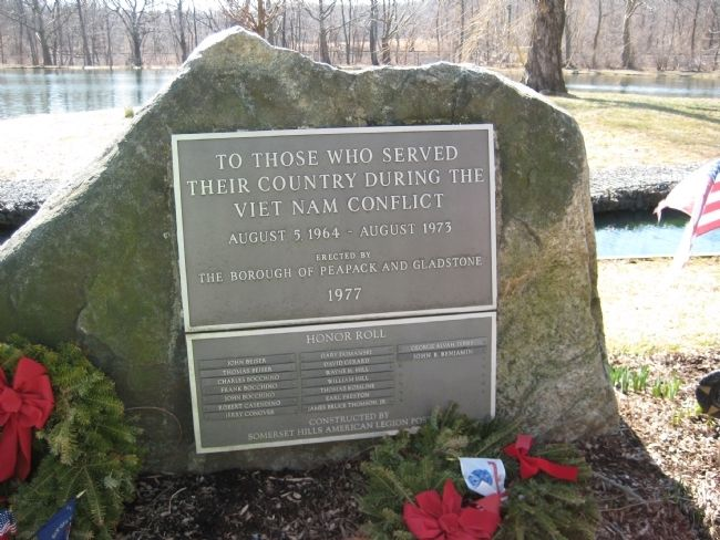 Peapack- Gladstone Liberty Park - Vietnam War Marker image. Click for full size.