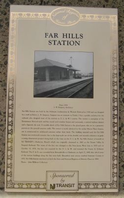Far Hills Station Marker image. Click for full size.