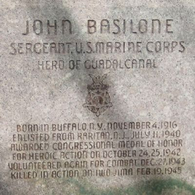 John Basilone Monument - Front Inscription image. Click for full size.
