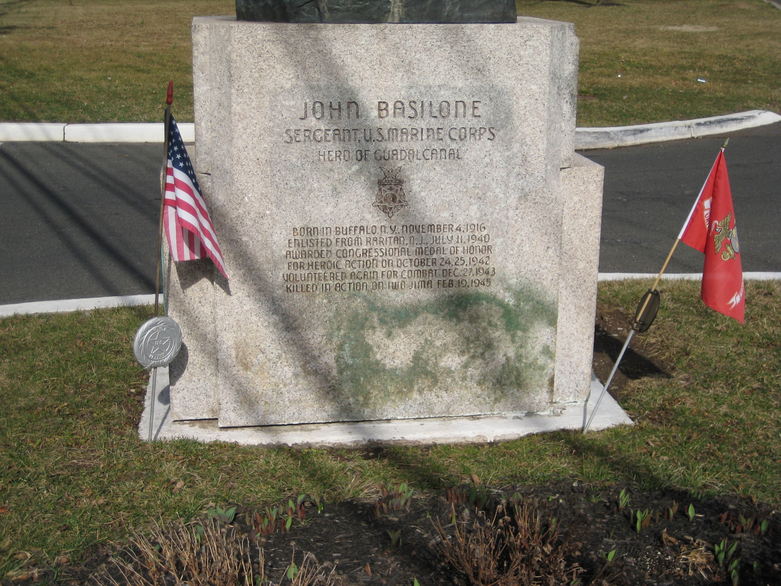 John Basilone Monument - Front Inscription
