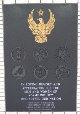 Adams County Veterans Memorial Marker image. Click for full size.