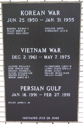 Adams County Veterans Memorial Korea, Vietnam, Persian Gulf Panel image. Click for full size.