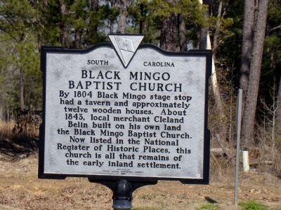 Black Mingo Baptist Church Face of Marker image. Click for full size.