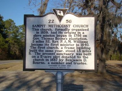 Sampit Methodist Church Marker, Side One image. Click for full size.