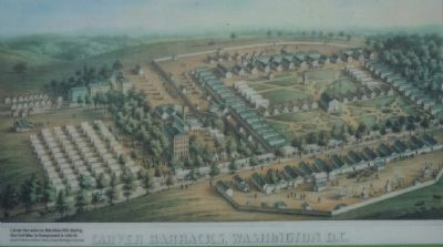 Carver Barracks on Meridian Hill, during the Civil War, In the foreground is 14th St. image. Click for full size.