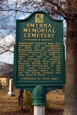 Smyrna Memorial Cemetery Marker image. Click for full size.