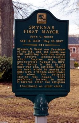Smyrna's First Mayor Marker image. Click for full size.