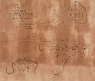 Plan of batteries at Fort Clifton, Appomattox River. image. Click for full size.