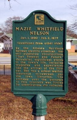 Mazie Whitfield Nelson Marker - Reverse Side image. Click for full size.