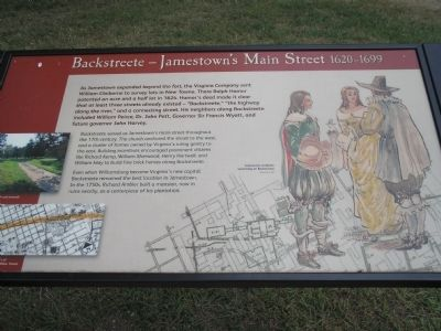 Backstreet – Jamestown's Main Street 1620-1699 Marker image. Click for full size.