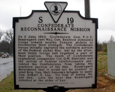 Confederate Reconnaissance Mission Marker image. Click for full size.
