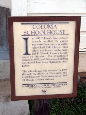 Coloma Schoolhouse Marker image. Click for full size.