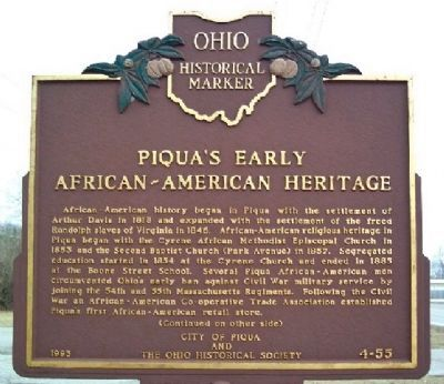 Piqua's Early African-American Heritage Marker (Side A) image. Click for full size.