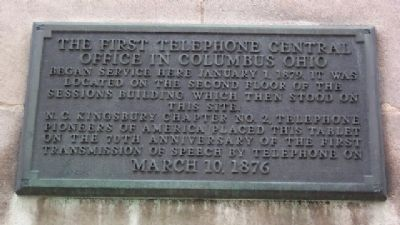 The First Telephone Central Office in Columbus Ohio Marker image. Click for full size.