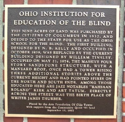 Ohio Institution for Education of the Blind Marker image. Click for full size.