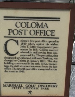 Coloma Post Office Marker image. Click for full size.