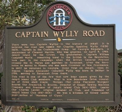 Captain Wylly Road Marker image. Click for full size.