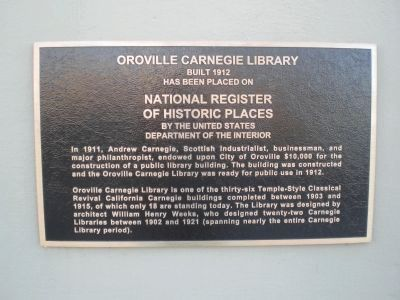 Oroville Carnegie Library Marker image. Click for full size.