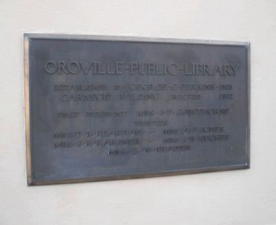 Oroville Carnegie Library Dedication Plaque image. Click for full size.