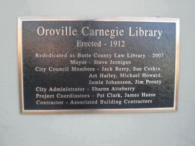 Oroville Carnegie Library Rededication Plaque image. Click for full size.
