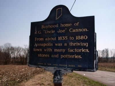 "Looking South - - Boyhood home of J. G. ""Uncle Joe"" Cannon. Marker image. Click for full size."