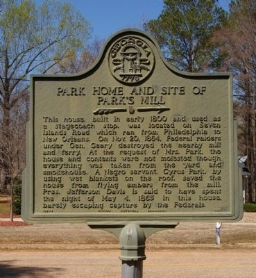 Park Home and Site of Park's Mill Marker image. Click for full size.