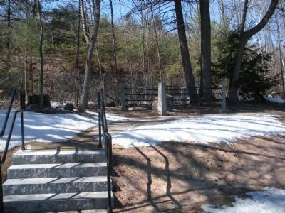 Path to rock marking Colonel Ephraim Williams, Jr.'s initial resting place. image. Click for full size.