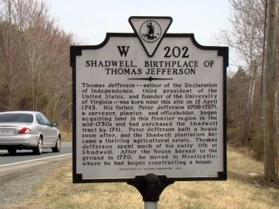 Shadwell, Birthplace of Thomas Jefferson Marker image. Click for full size.