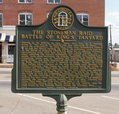 The Stoneman Raid Battle of King's Tanyard Marker image. Click for full size.