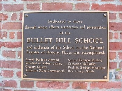 Bullet Hill School Dedication Plaque image. Click for full size.