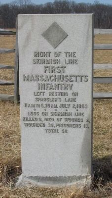 First Massachusetts Infantry Skirmish Line Marker image. Click for full size.