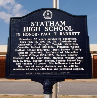 Statham High School Marker image. Click for full size.
