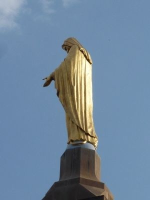 """Our Lady of the Mountain,"" atop the Pangborn Campanile image. Click for full size."